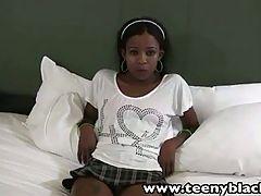 TeenyBlack Schoolgirl ebony teen Nevaeh interracial facialized