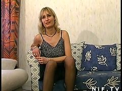 French MILF in stockings gets her ass pounded