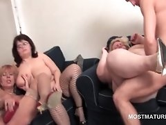 Mature orgy with bisexual sluts working cock and twat