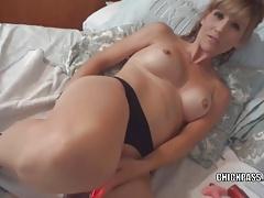 Blonde MILF Jolene is masturbating and sucking some dick
