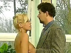 Hot blonde fucked by two guys