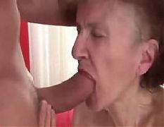 76yr old thin granny marcela sucks fucked and cummed on